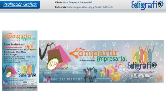 Invitación para WhatsApp y Pendón - Feria Compartir Empresarial